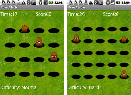 もぐらつつき:左がノーマルモード、右がハードモード