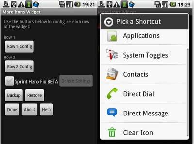 設定画面。アプリの他に連絡先なども登録できる