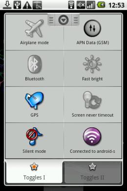 Toggle Settings   Profiles:カラーがON、モノクロがOFF