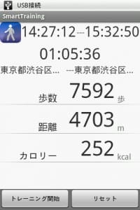SmartTraining : 歩数や距離、カロリーが計れた!