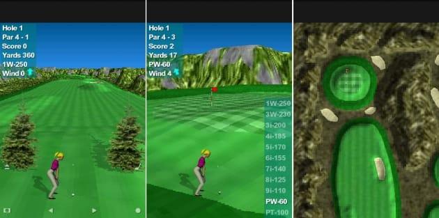 Par 72 Golf II Lite:左:フェアウェイど真ん中を狙おう 中:風向きも変わる 右:ショット後のボールの位置は上空からチェックは上空からチェック