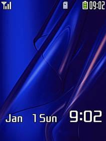 ソニ・エリケータイを始め、ソニー製の待受画面や壁紙には、なぜか紺色で波模様のものが多い。「SO902i」の待ち受け画面。