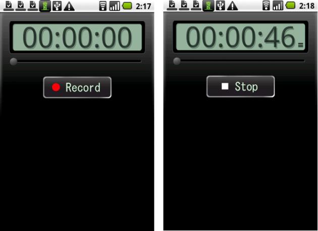 左:トップ画面 中央:録音中 右:録音データはタイトルをつけて管理