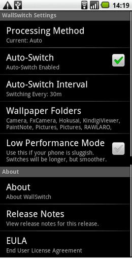 設定画面。「Auto-Switch」利用がおすすめ。
