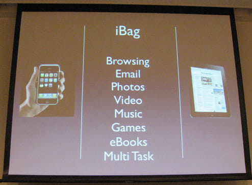 『iPad』の発表時に見たようなプレゼン画面。こんな商品ってあったっけ?