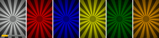 カラーボールから放射された光が回りながら、色とりどりに変化していく。