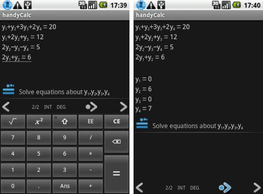 handyCalc: 左:1 4つの式を入力して 右:2 「=」をタップすると、見事に解が出た