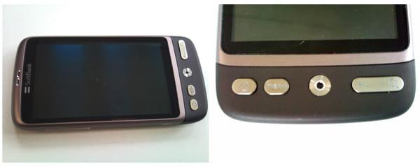 本体上部に受話口(左)、本体下部にハードウェアボタン(右)