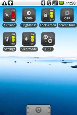 """OnOff Widgets Pack: """"Close""""ボタンを押して""""Skin Manager""""の画面を閉じると、テーマが変更されています。"""