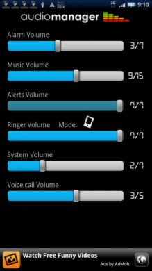 AudioManager Widget: メイン画面。音量に関する設定は一通り揃っている。
