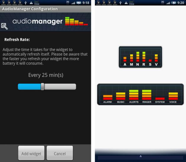 AudioManager Widget: 左:「Refresh Rate」設定画面。 右:上がウィジェット「Small」、下がウィジェット「Large」