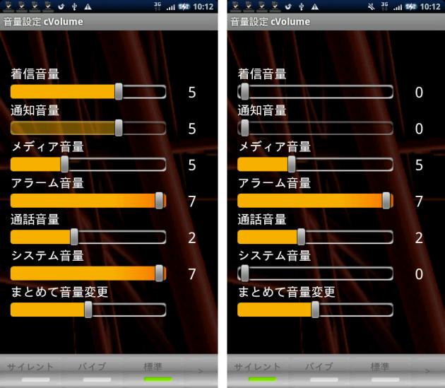 音量設定[cVolume] Free: 左:標準時の音量設定 右:標準時の設定を変えずにサイレントモードにした場合の音量設定