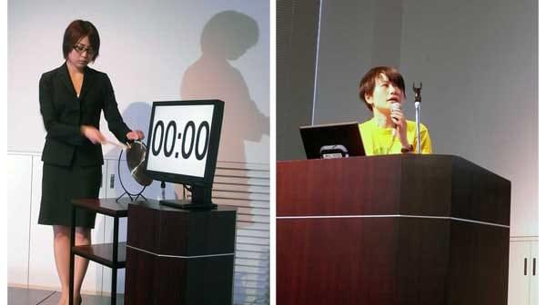 左:時間になるとドラが鳴る。 右:日本アンドロイドの会所属の矢野りん氏。