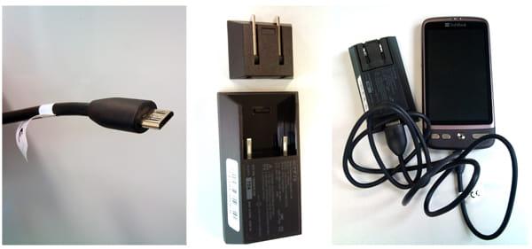 USBケーブル(左)、ACアダプタ(中)、ACアダプタと繋いだ本体(右)