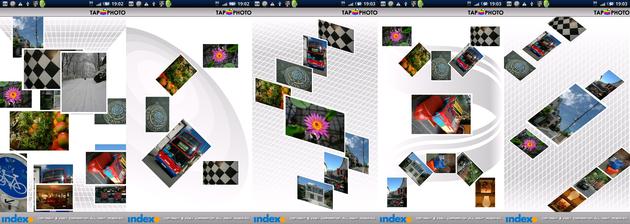 TapPhoto:スライトが切り替わるとブルっと振動、画面をタップすると画像が拡大します