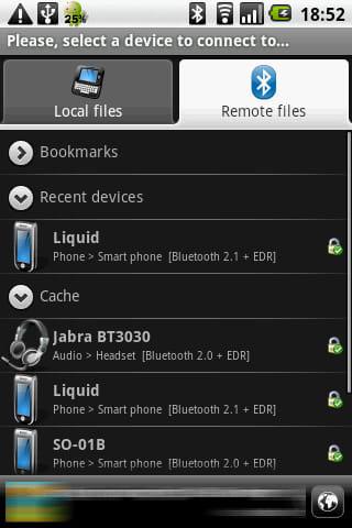 Bluetooth File Transfer:接続したい機器とペアリング