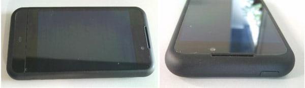 左:本体上部 右:端末上部には電源ボタンがあります。