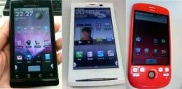 宮田 友美さんのAndoid端末。左:Milestone 中:Xperia 右:GDDPhone