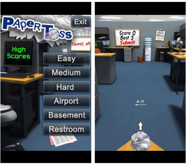Paper Toss:メニュー画面(左)難易度「Hard」の画面。ゴミ箱はかなり遠くになる(右)