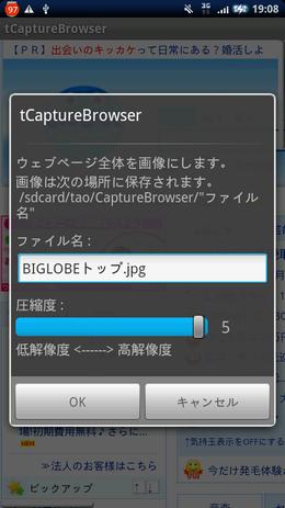 tCaptureBrowser:ファイル名と解像度を設定して保存