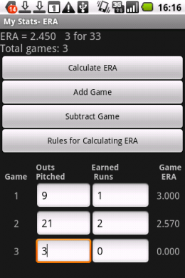 My Baseball Stats Calculator :Earned Run Average(防御率)
