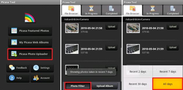 Picasaの美しい写真: 新しいものだけをアップロードしたい場合は2日とか7日を選択すると良いですね。