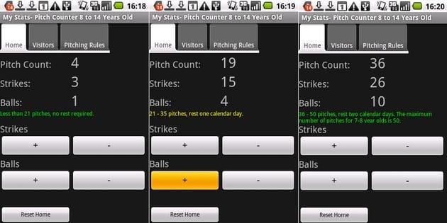 My Baseball Stats Calculator : Pitch Counter(投球数)
