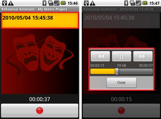 Rehearsal Assistant/VoiceRecrd: インターフェイスは非常にシンプルでわかりやすいです。