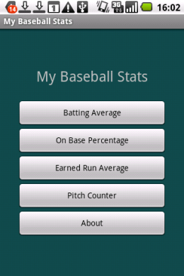 My Baseball Stats Calculator :トップ画面