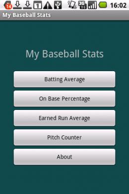 My Baseball Stats Calculator :トップ画面