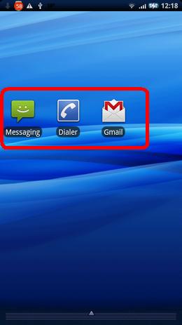 SMS Unread Count:アイコン左からMessaging、Dialer、Gmail