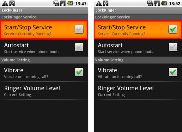 Lock Ringer: サービス開始と終了の切り替えは1タップでOK。