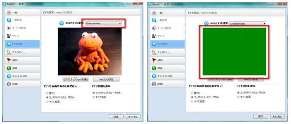 USB Webcam:Skypeのビデオ設定画面