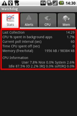 Watchdog Task Manager Lite: 「Stats」では端末の状態を確認できます。