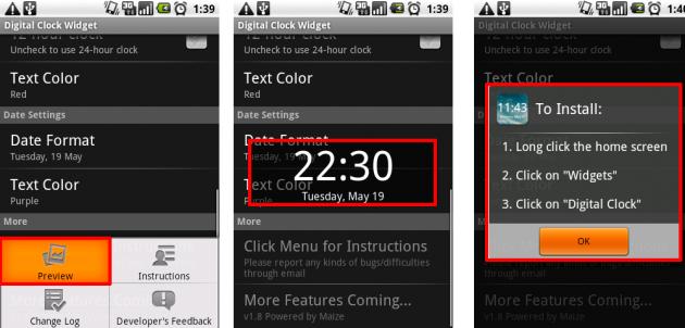Digital Clock Widget:私は24時間表記で曜日も表示される方が好きです。