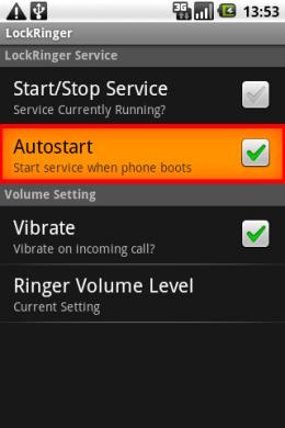 """Lock Ringer: """"Autostart""""してくれるから安心。"""