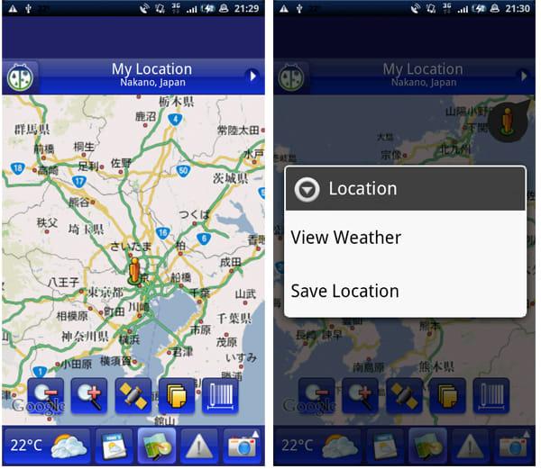 WeatherBug:マップ画面から都市を選択して保存すれば、その都市の詳細な気象情報を表示可能。「View Weather」を選択するとマップ上に天気と気温をアイコンで表示する