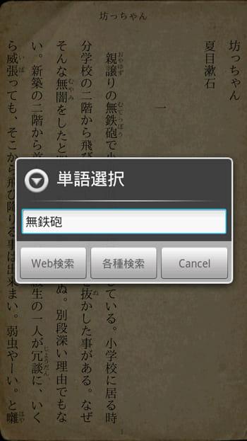 縦書きビューワ:文字を長押しすると、該当文字をWebで検索できる