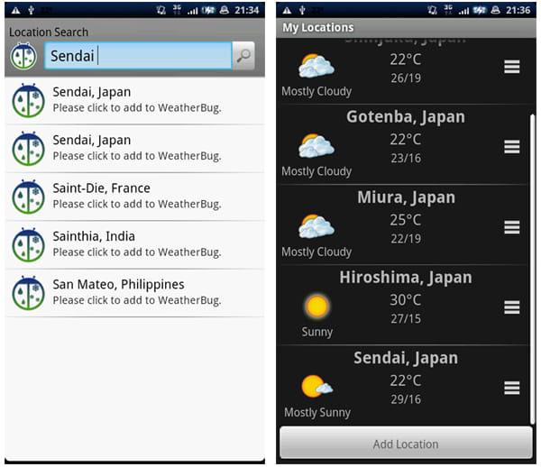 WeatherBug:検索画面。日本の都市も英語表記で入力する(左)「My Location」で各都市をタッチすればメイン画面にその都市の気象情報が表示される(右)