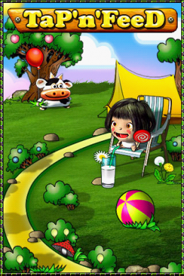 Tap'n'Feed: ゲームの起動画面。子供たちはくつろいでいるが、プレイヤーは大忙し!