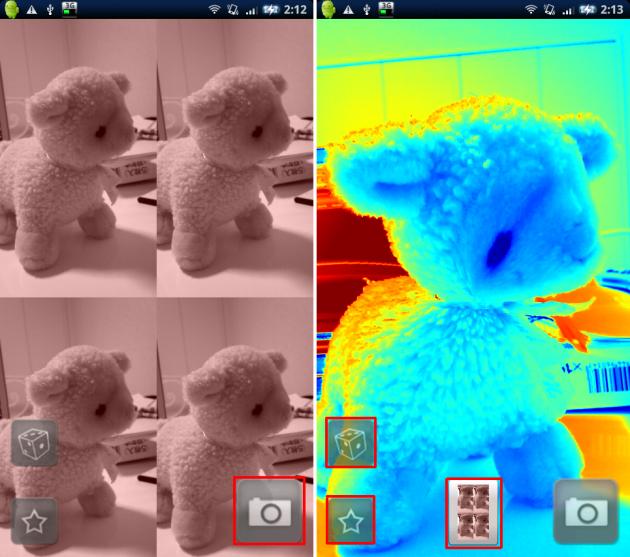 Camera Illusion: サイコロアイコンをタップするとランダムでいろんなエフェクトがかかります。