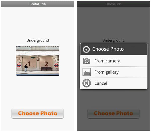 PhotoFunia:加工する画像はカメラ撮影or既存のものから選択することができる