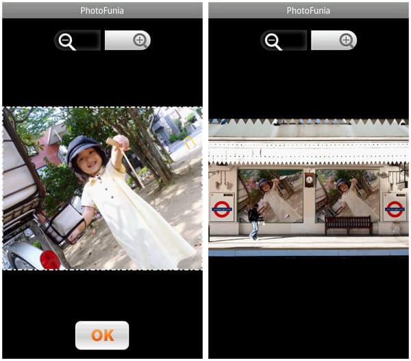 PhotoFunia:画像を撮影・選択したら、取り込み範囲を選択(顔認識テンプレートでは必要ありません)(左)OKボタンを押してしばらく待てば、加工済み画像のできあがり!(右)
