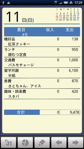 かけ~ぼ:一日の収支を記録していこう