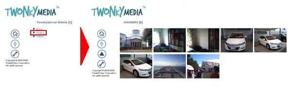 TwonkyServer Mobile:IPアドレス入力し、アクセスした画面(左)Photoから端末の画像を閲覧できました(右)