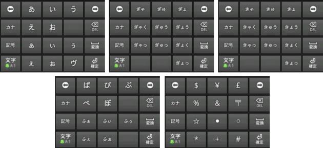 ターナップ文字入力/日本語版:候補表示例 左上から、あ行の赤、か行の緑左、か行の緑右、は行の黄色、ん行の緑