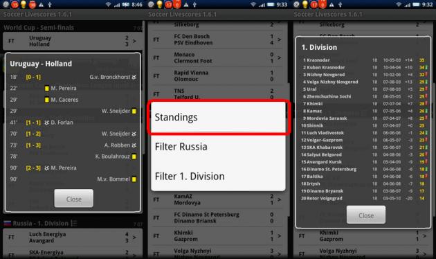 Soccer Livescores: 左:試合内容 中央:長押ししてStandingsでリーグ順にを確認 右:リーグ順位