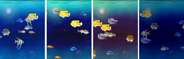 AquaCharger : 水の色。左から、朝・昼・夕方・夜。プラス、時間に従って変化の5種類から選べます。