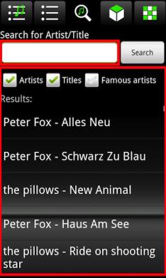 museek Music Player: 検索結果にはアーティスト名と曲名が表示されています。