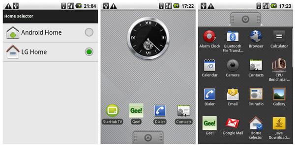 ホーム画面は標準では「LG Home」となっているが、Android標準のホーム画面も使用できる